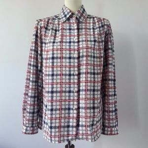 1980s Vintage Red white and Blue Checkered Shirt
