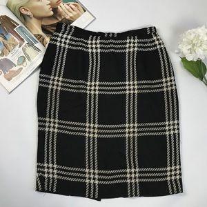 Vintage black white plaid & checks pencil skirt 12