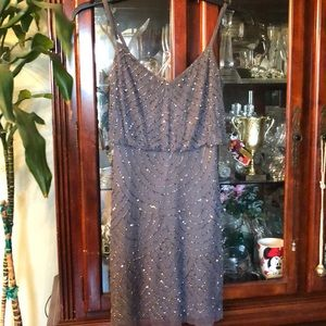 Grey Adrianna Papell sequence dress