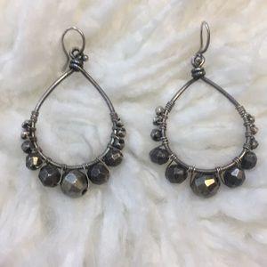 Chan Luu silver earrings with gun metal