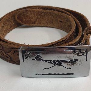 '70s Vintage Leather Hand Tooled Belt