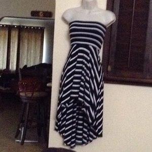 Stripped Aqua high low dress