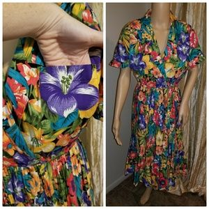 Authenticn1p50s Hawaiian print floral dress