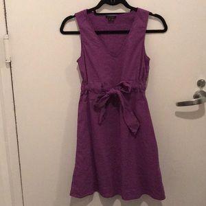 "Theory ""Alfa"" Linen Tie Waist Dress - Purple, 0"