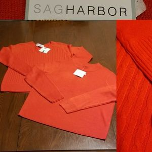 DUO🤗Sag Harbor red cable knot sweaters NWT AL