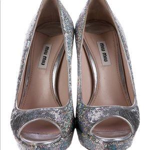 MIU MIU glitter peep toe platforms