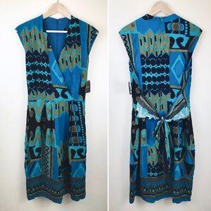 Ellen Tracy Blue Faux Wrap Dress - Plus Size 16