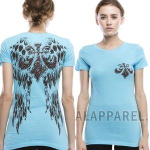 Fleur De Lis Top Bling Black Blue Wings Tee Shirt