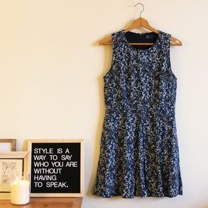 Blue Speckled Dress with Pockets