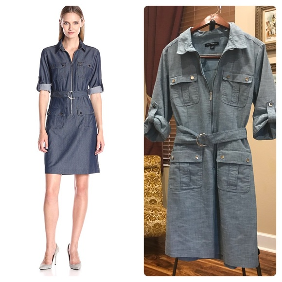 eed5a8e54dc Sharagano Belted Rollup Sleeves Shirt Dress. M 5a2c7a6341b4e0a85e030af8