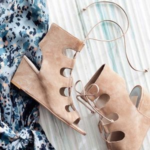 Dolce Vita suede lace up wedge sandal