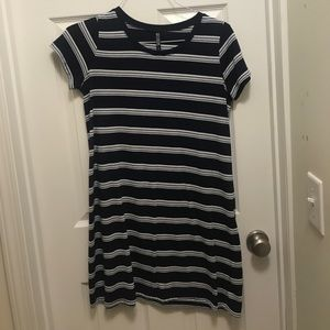 A gray, navy, and white dress from Cotton On.