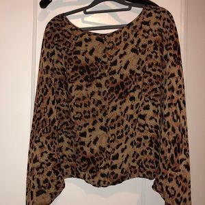 Rachel Zoe silk blouse - leopard, dolman sleeves