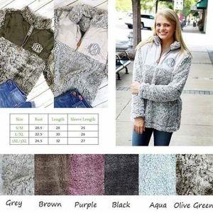 Tops - Sherpa half zip pullover.