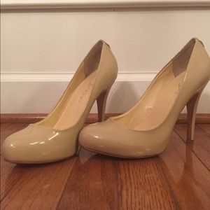 Ivanka Trump nude patent leather pumps size 8m