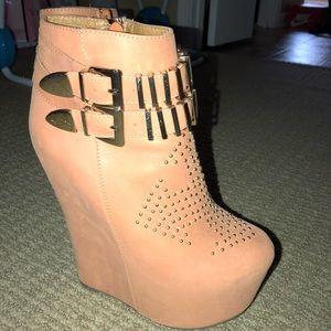 Orange Jeffrey Campbell wedge heel/booties