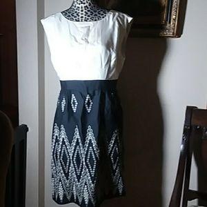 Tibi NY Black and White Cut Out Back Dress 8