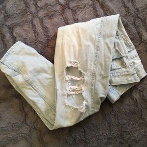 Distressed Light-Wash Boyfriend Jeans