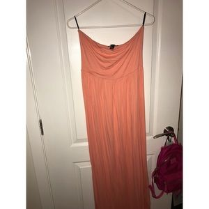 Forever 21 Coral strapless maxi dress sz L