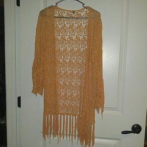BKE Peach Color Crochet Long Shrug Small