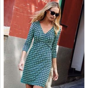 Boden Blue Geometric Patterned Dress, Size 14R
