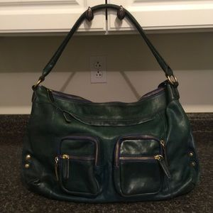 J. CREW Large Leather Forest Green Shoulder Bag