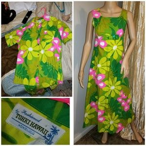 Authetnic 1970s Hawaiian dress and buttoned top