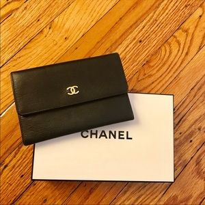 Authentic CHANEL black leather wallet with box