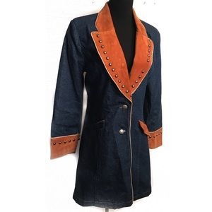 Vintage western suede and jean jacket coat