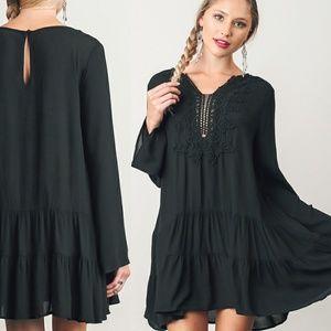 Solid Black Lace Dress Babydoll Loose Size S M L