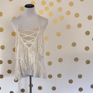 Free People Cream Lace Camisole Tank, Small
