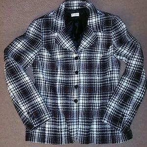 BCBG Paris women's size 12 plaid wool jacket