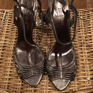 Metallic MAX MARA size 9 stiletto strappy heels