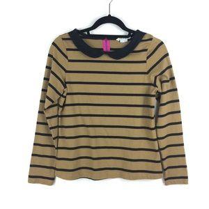 Boden Long Sleeve Striped Peter Pan Collar Top 876