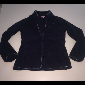 Lilly pulitzer navy blue zip fleece jacket xs