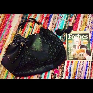 Betsey Johnson Studded Bow Textured Tote