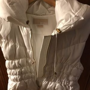 Micheal Kors White Down Faux hooded Vest