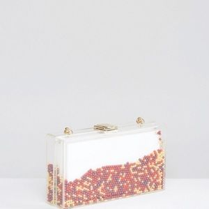 New Asos Clutch Bag with multicolor beads.