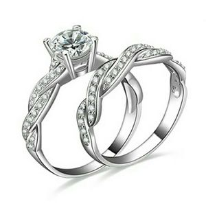 Jewelry - 2 Pcs Women's silver plated Rehinestone Engagement