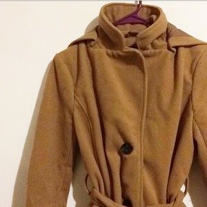 F21 Camel Coat with hood