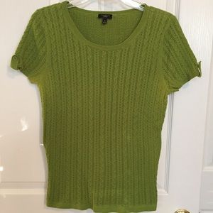 Talbots green cable sweater