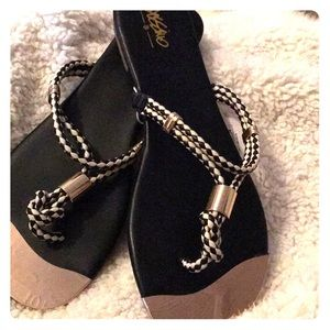 Black/White and gold sandals