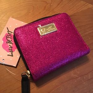 Betsey Johnson Hot Pink Glitter Wallet Zip Around