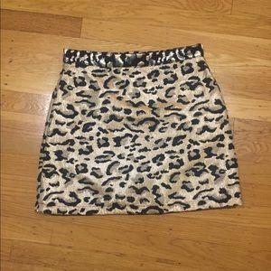 Topshop Metallic Leopard Print Mini Skirt