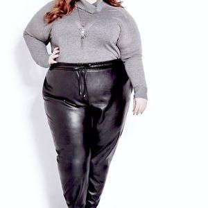 Pants - Plus Size Faux Leather Joggers🎄🌹🎄🌹