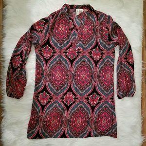 Mimi Chica Paisley Boho Tunic Hippie Dress L