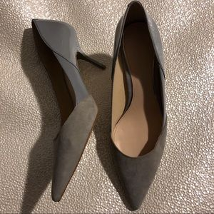 Zara gray suede patent low heel pump