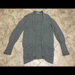 ANTHROPOLOGIE LA MADE GRAY OPEN CARDIGAN SWEATER