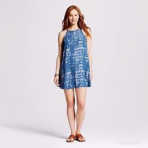 Mossimo Printed Swing Dress In Blue Tie Dye