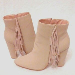 Shoes - Nude Fringe Pointy Toe Chunky Heel Booties